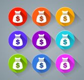 Dollars sack icons with various colors Stock Photography