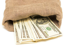 Dollars in sack Royalty Free Stock Images