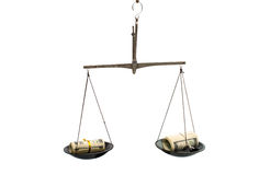 Dollars on the scales Stock Image
