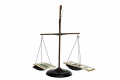 Dollars on the scales Royalty Free Stock Image