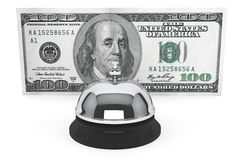 Dollars and Service Bell. Service concept. One hundred dollars and Service Bell on a white background Stock Images
