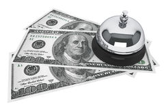 Dollars and Service Bell. Service concept. One hundred dollars and Service Bell on a white background Royalty Free Stock Image