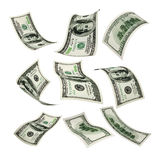 100 dollars. Set of flying 100 dollar money banknote on a white background Royalty Free Stock Photos