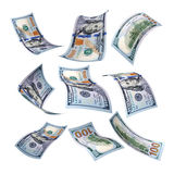 100 dollars. Set of flying 100 dollar money banknote on a white background Royalty Free Stock Photography