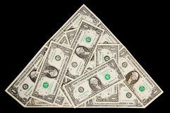 Dollars in shape of pyramid Stock Photography