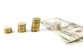 Dollars and shekels. Royalty Free Stock Photography