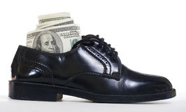 Dollars in shoe Stock Images