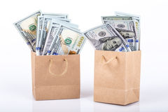 Dollars in shopping bags Stock Image
