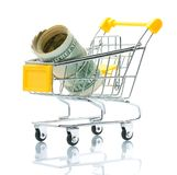 Dollars in the shopping cart Stock Photo