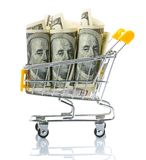 Dollars in the shopping cart Stock Photos