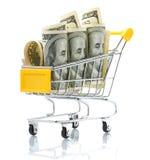 Dollars in the shopping cart Stock Photos