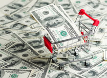Dollars in Shopping Cart Royalty Free Stock Photography