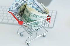 Dollars in the shopping cart - concept of online shopping Royalty Free Stock Image