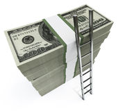 Dollars with short ladder. Stacks of dollars with a ladder Royalty Free Stock Photography
