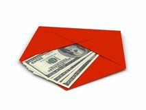 Dollars sign in envelope over white background Royalty Free Stock Images