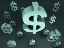 Dollars Sign Flying. Financial Design Stock Photography