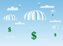 The dollars sign goes down on a parachute Royalty Free Stock Images
