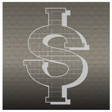 Dollars sign icon brick Wall currency symbol Money label. Circl Stock Photography