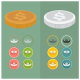 Dollars sign icon USD currency symbol Money label. Circles and Royalty Free Stock Photo