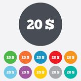 20 Dollars sign icon. USD currency symbol. Money label. Round colourful 11 buttons royalty free illustration