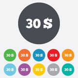 30 Dollars sign icon. USD currency symbol. Stock Photos