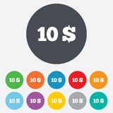 10 Dollars sign icon. USD currency symbol. Money label. Round colourful 11 buttons vector illustration