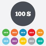 100 Dollars sign icon. USD currency symbol. Money label. Round colourful 11 buttons vector illustration