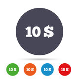 10 Dollars sign icon. USD currency symbol. Money label. Round colourful buttons with flat icons. Vector royalty free illustration