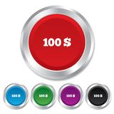 100 Dollars sign icon. USD currency symbol. Money label. Round metallic buttons vector illustration