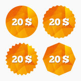 20 Dollars sign icon. USD currency symbol. Money label. Triangular low poly buttons with flat icon. Vector stock illustration