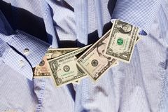 Dollars in sleeve Royalty Free Stock Image