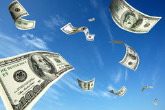 Dollars soaring in the sky. Some 100-dollars notes soaring in the sky Stock Image