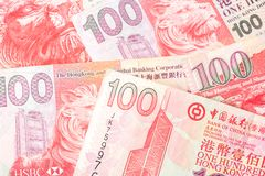 100 dollars sont la devise nationale de Hong Kong Photo libre de droits