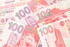 100 dollars sont la devise nationale de Hong Kong Photo stock