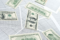 Dollars and spreadsheets Stock Image