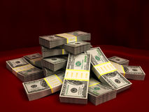 Dollars stack. 3d illustration of dollars stack over red colors background Stock Photo