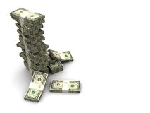Dollars stack. 3d illustration of dollars stack over white background Royalty Free Stock Images