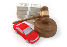 100 dollars stack and auction with car Stock Photo