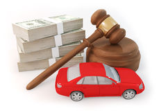 Dollars stack and auction with car. 3D rendering graphic design of 100 dollar bills as heap and auction with car, Rendered at high resolution on a white Stock Photo