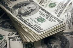 Dollars stack close-up Stock Images