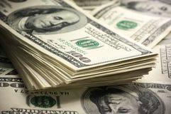 Dollars stack close-up Stock Photos