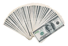 Dollars. The stack is 100 dollar bills USD spread out like a fan, isolated on white background Stock Photography