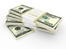 Dollars stack over white Royalty Free Stock Image