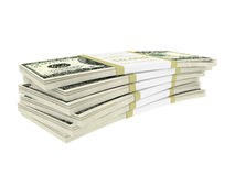 Dollars stack over white Royalty Free Stock Photos