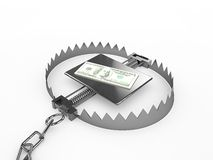 Dollars stack sitting on trap. 3d render Stock Photos