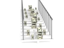 Dollars on stairs Stock Photography