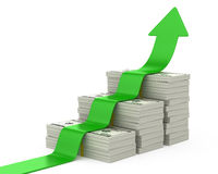 Dollars stairway and upward arrow Stock Photography