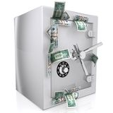 Dollars sticking out of safe Royalty Free Stock Photography