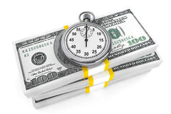 Dollars and Stopwatch Royalty Free Stock Photography