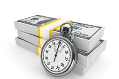 Dollars and Stopwatch Stock Photography
